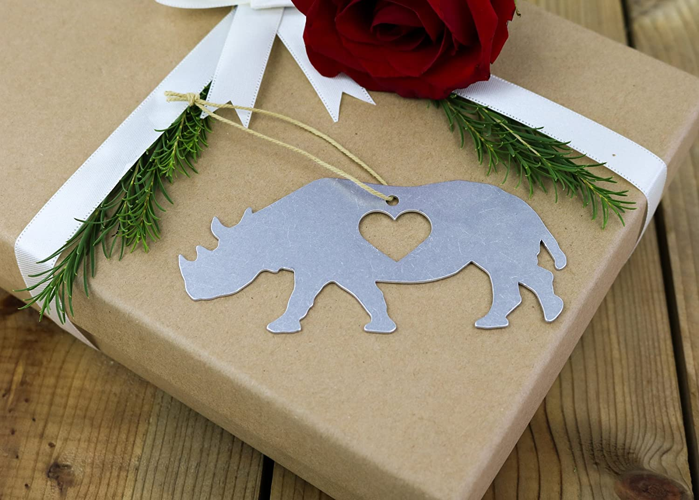 Iron Maid Art Love Rhino Rhinoceros Animal Christmas Ornament Rustic Aluminum for Her Him Home Fall Decor Wedding Favor Thanksgiving