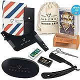 Coffret Barbe Complet par Sapiens : Kit d'Entretien pour Barbe & Moustache avec Brosse, Peigne et Pochoir à Barbe, Rasoir, 10 Lames Derby et Ciseaux + Ebook Offert