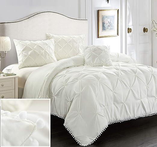 8 Piece Pinch Pleat Pintuck Ruffling Comforter Set Ivory Cal King Soft Touch