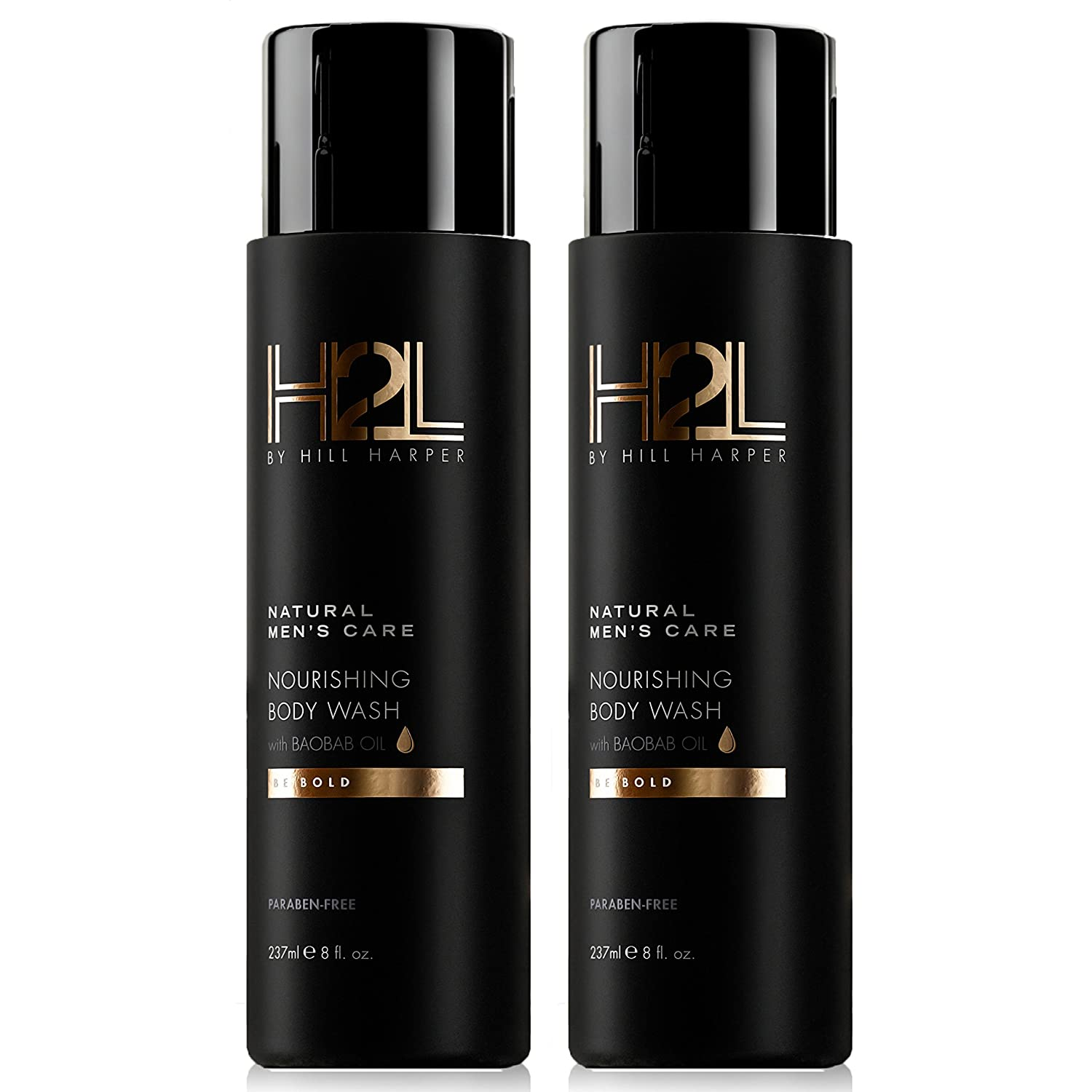 H2L Premium Nourishing Body Wash - With Baobab, Sweet Almond, Avocado and Chia Seed Oils. For Men By Hill Harper (2 Bottles)