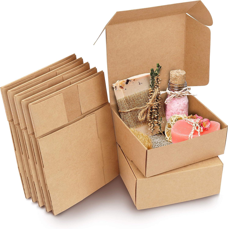 Kurtzy Caja Carton Craft Marrón (Pack de 50) - Medidas 12 x 12 x 5 cm - Cajas Automontables para Regalo - Caja Kraft para Fiestas, Cumpleaños, Bodas, Fiestas - Cajitas de Carton Reciclable: Amazon.es: Oficina y papelería