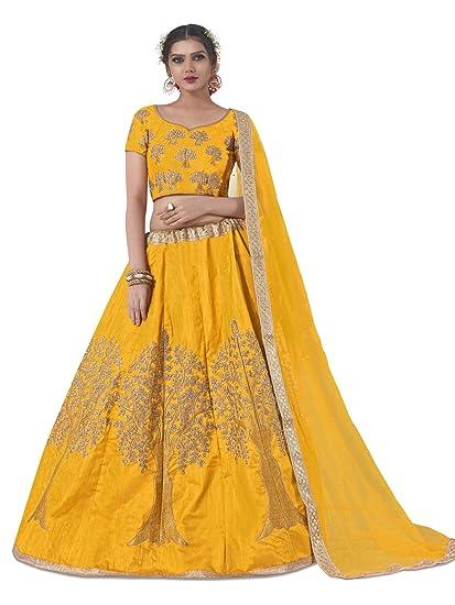 97edd55d072 AASVAA Women s Bangalori Silk Weaving Semi-Stitched Lehenga Choli  (NYABA2850