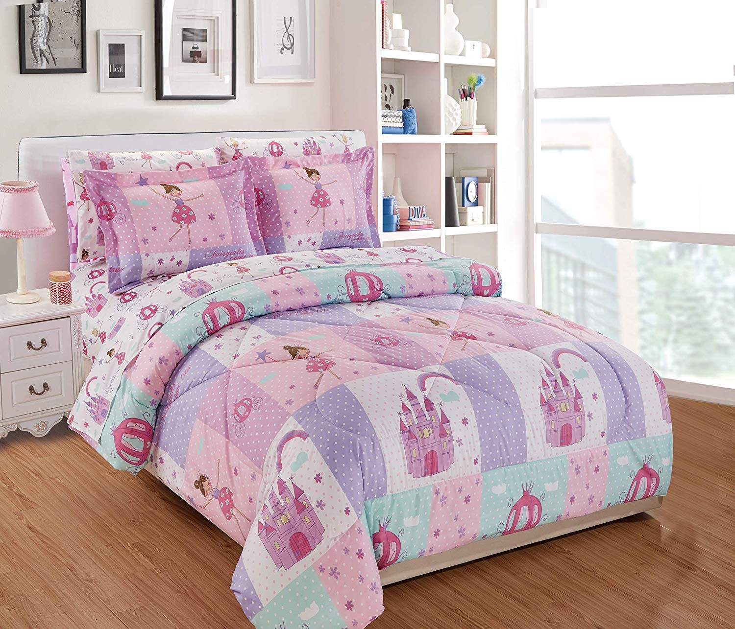 Elegant Homes Multicolor Pink Lavender Lilac Blue Princess Fairy Tales Palace Castle Design 7 Piece Comforter Bedding Set for Girls/Kids Bed in a Bag with Sheet Set # Fairy Tales (Queen Size)