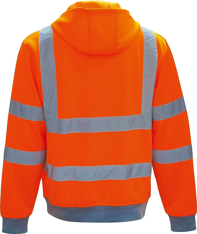 vizwell Warnschutz Kapuzenjacke Warnschutz Sweatjacke mit