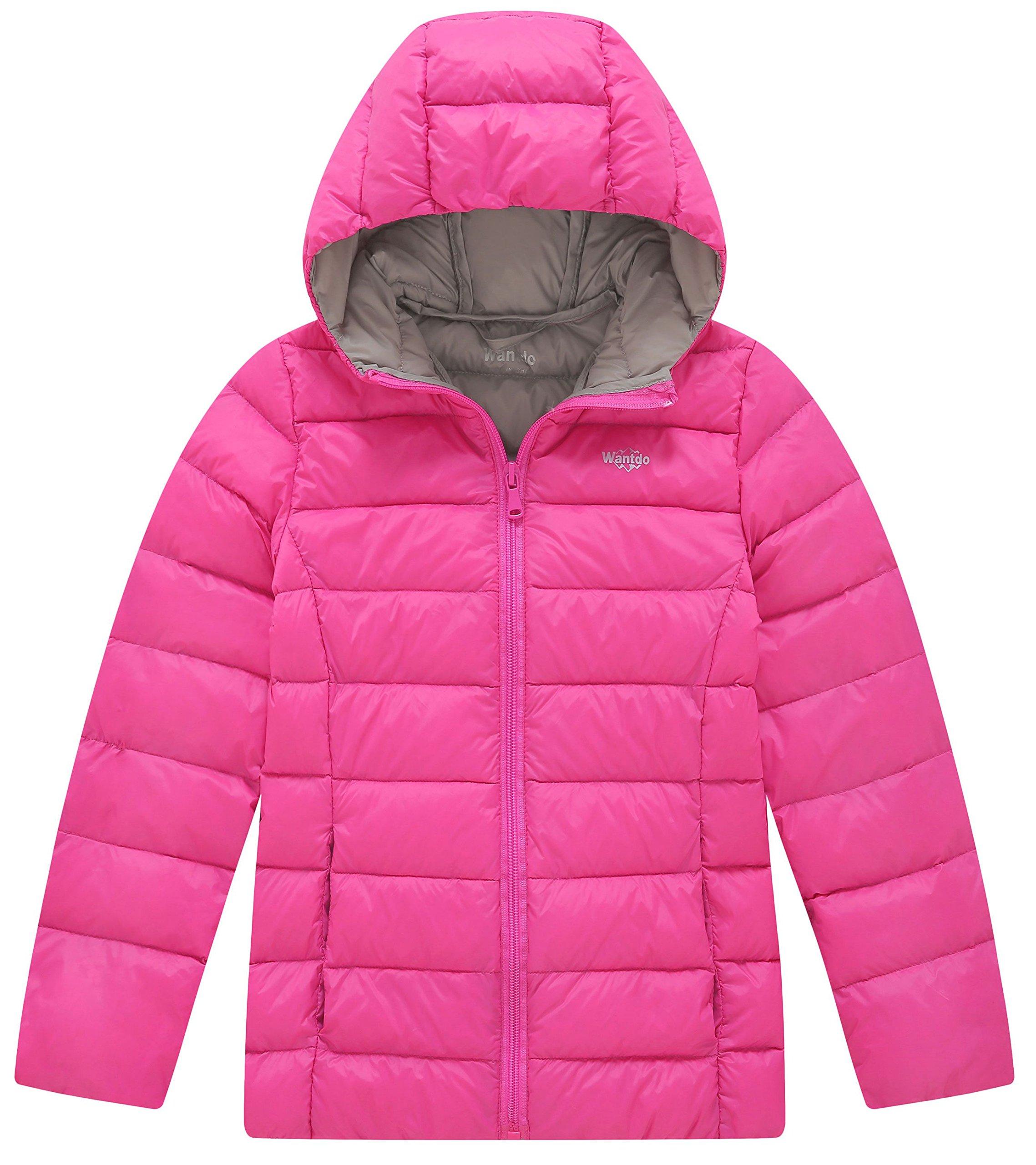 Wantdo Girl's Ultra Light Down Travel Jacket Windproof Hoodie Sportswear Short Parka(Purple, 10/12)