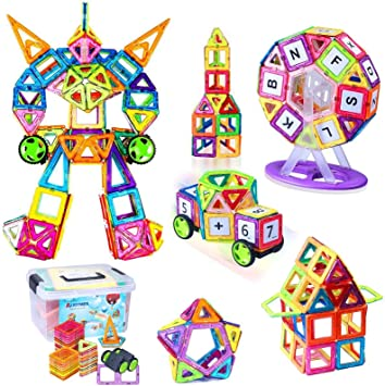 AUGYMER Magnetic Building Blocks, 110 Pcs Building Construction Toy Stacking Toys Ferris Wheel STEM Building Block, Instruction Booklet and Storage Box, Creative Thinking Educational Gift for Kids: Amazon.co.uk: Toys & Games