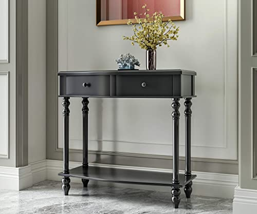 COZAYH Console Sofa Table, Traditional Modern Farmhouse Style w French Turned Legs Black