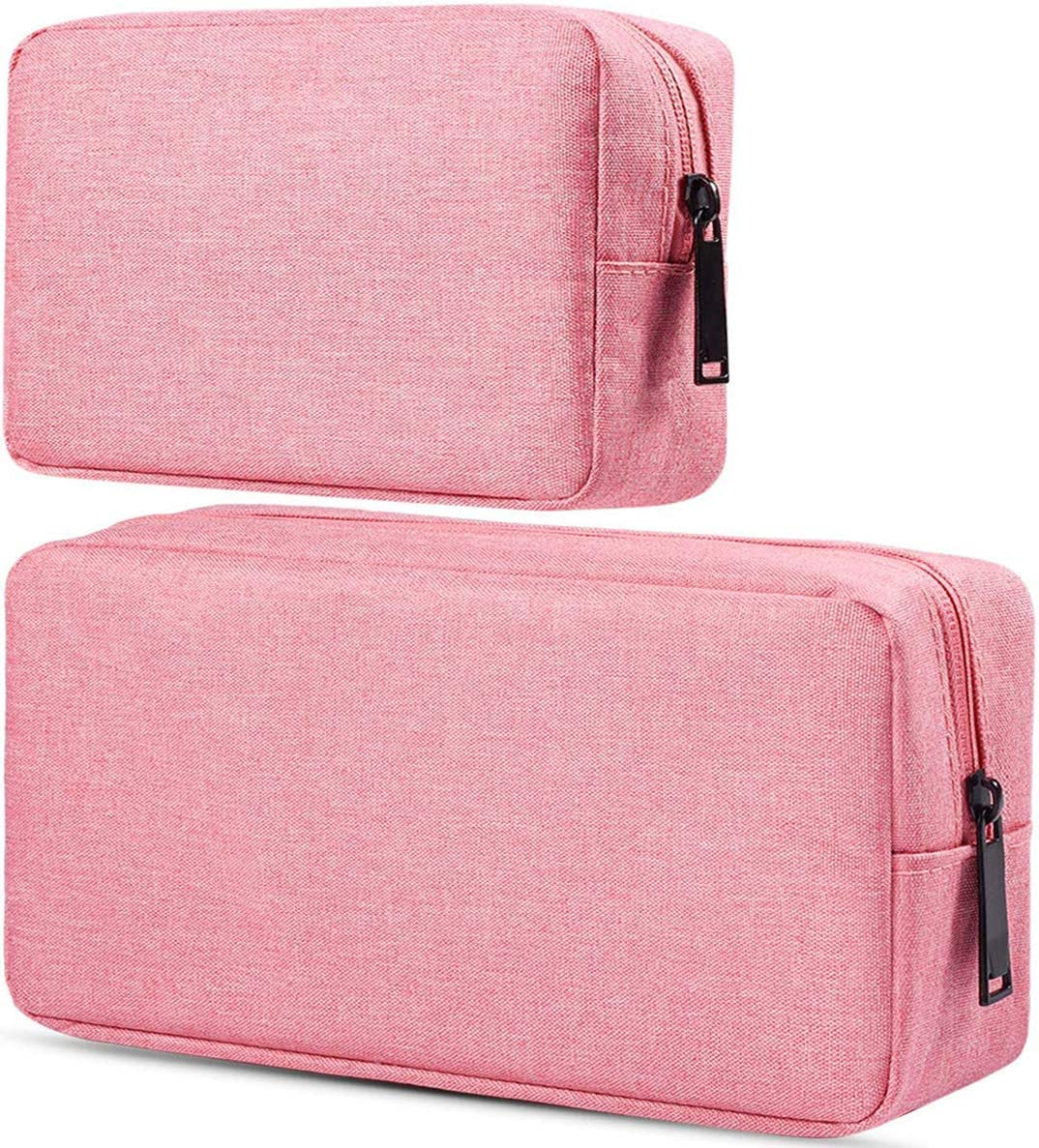 Electronic Accessories Travel Organizer Case,Universal Electronics Accessories Storage Bag Compatible Laptop Charger Various USB,Cables,Mouse, Cords and Power Travel Gadget Carry Bag, Pink (Small+Big)