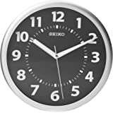 "Seiko 10"" Black Wall Clock with Luminous Glow-In-The-Dark Hands"