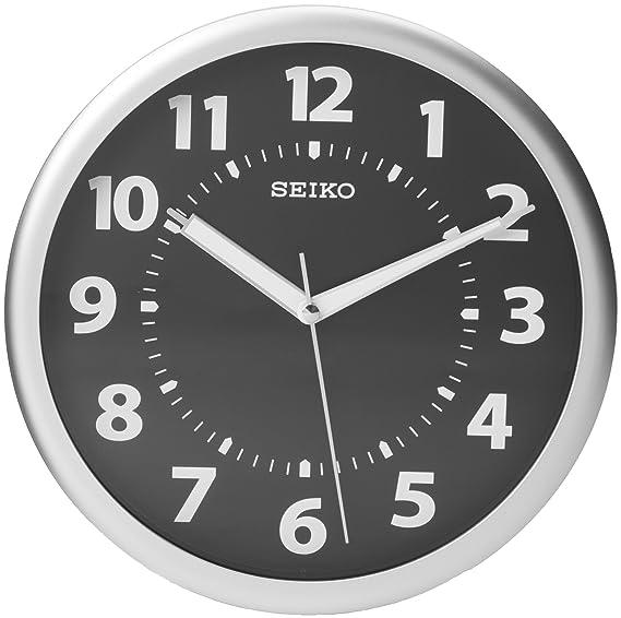 Seiko Reloj de Pared metálico Plateado Caso Luminoso números