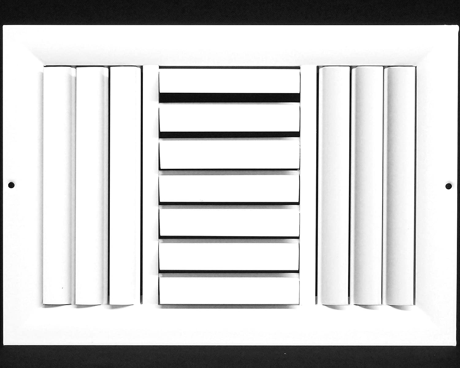 """14""""w X 8""""h 3-Way Aluminum Curved Blade Adjustable Air Supply HVAC Diffuser - Full Control Vertical/Horizontal Airflow Direction - Vent Duct Cover [Outer Dimensions: 15.65""""w X 9.65""""h]"""