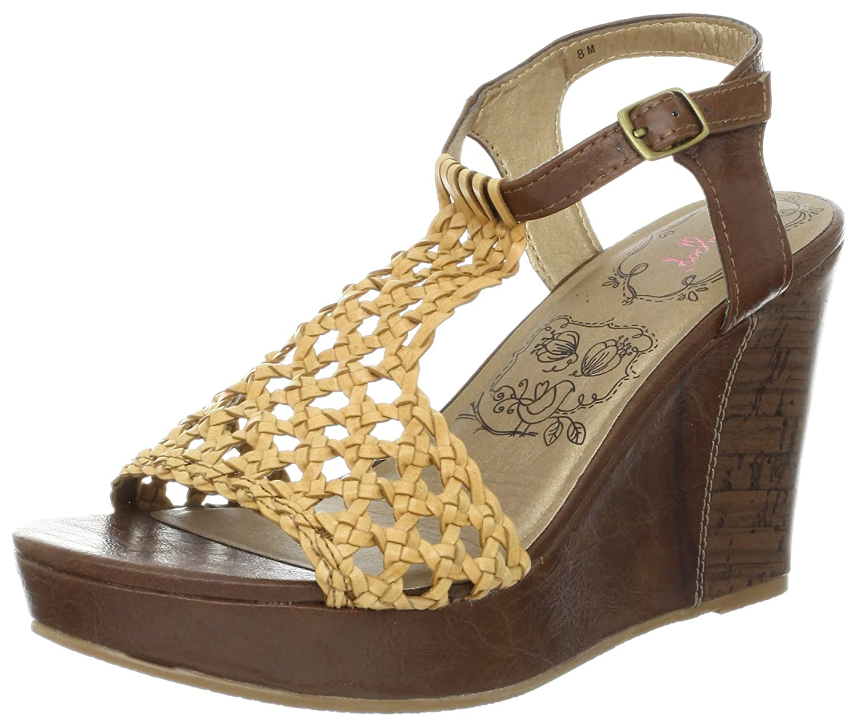 Jellypop Women's Dahl Wedge Sandal B009WKR0IE 8 B(M) US|Tan