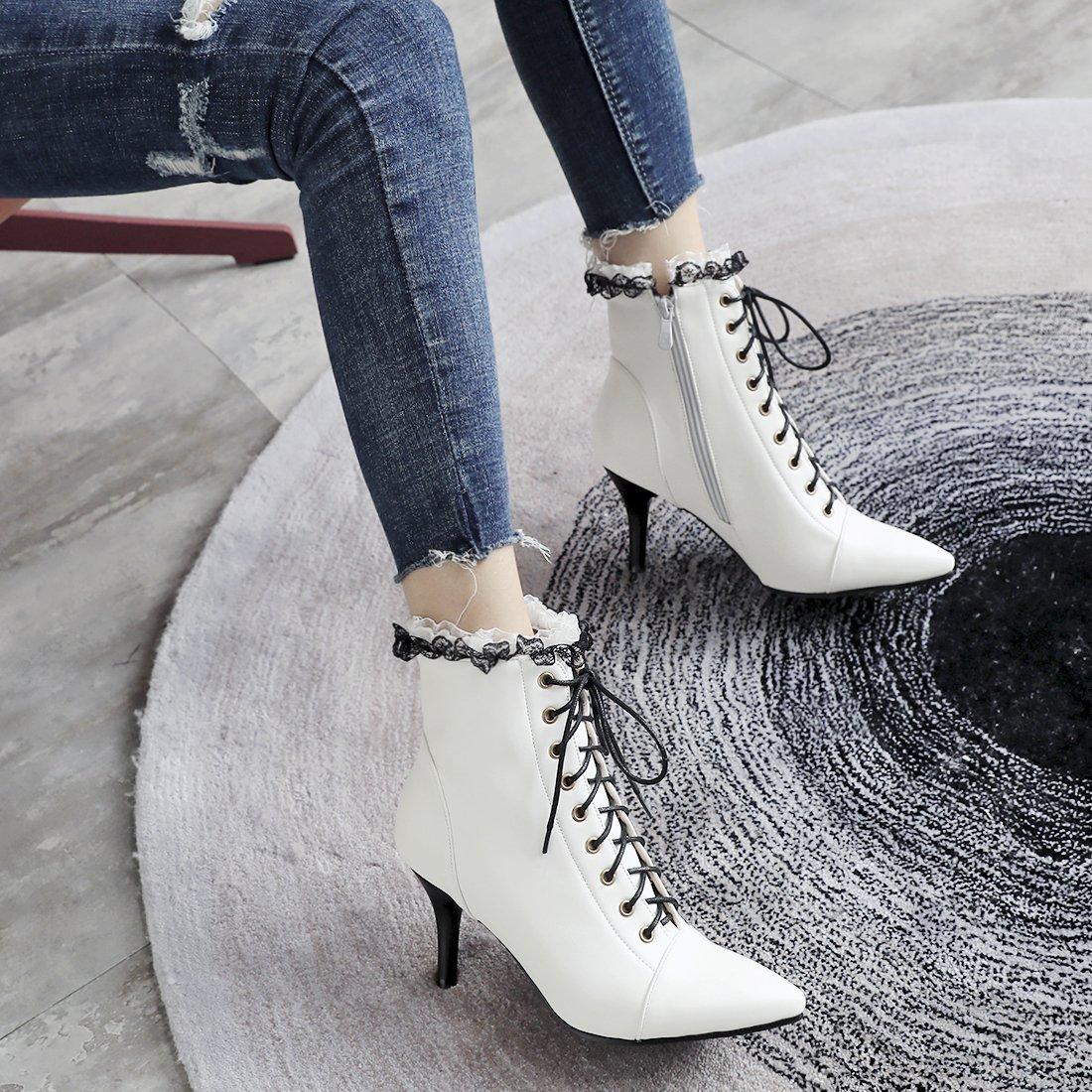 145a02ebcc03 YE Bottines Dentelle Femme à Talon Aiguille avec Lacets Bottes Lacees Bout  Pointu Haut Cuir Courtes Ankle Boots Winter Shoes Chaude Hiver  Amazon.fr   ...