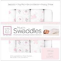 SwaddleDesigns Manta de Muselina para Envolver, 4 piezas, Rosa Pastel