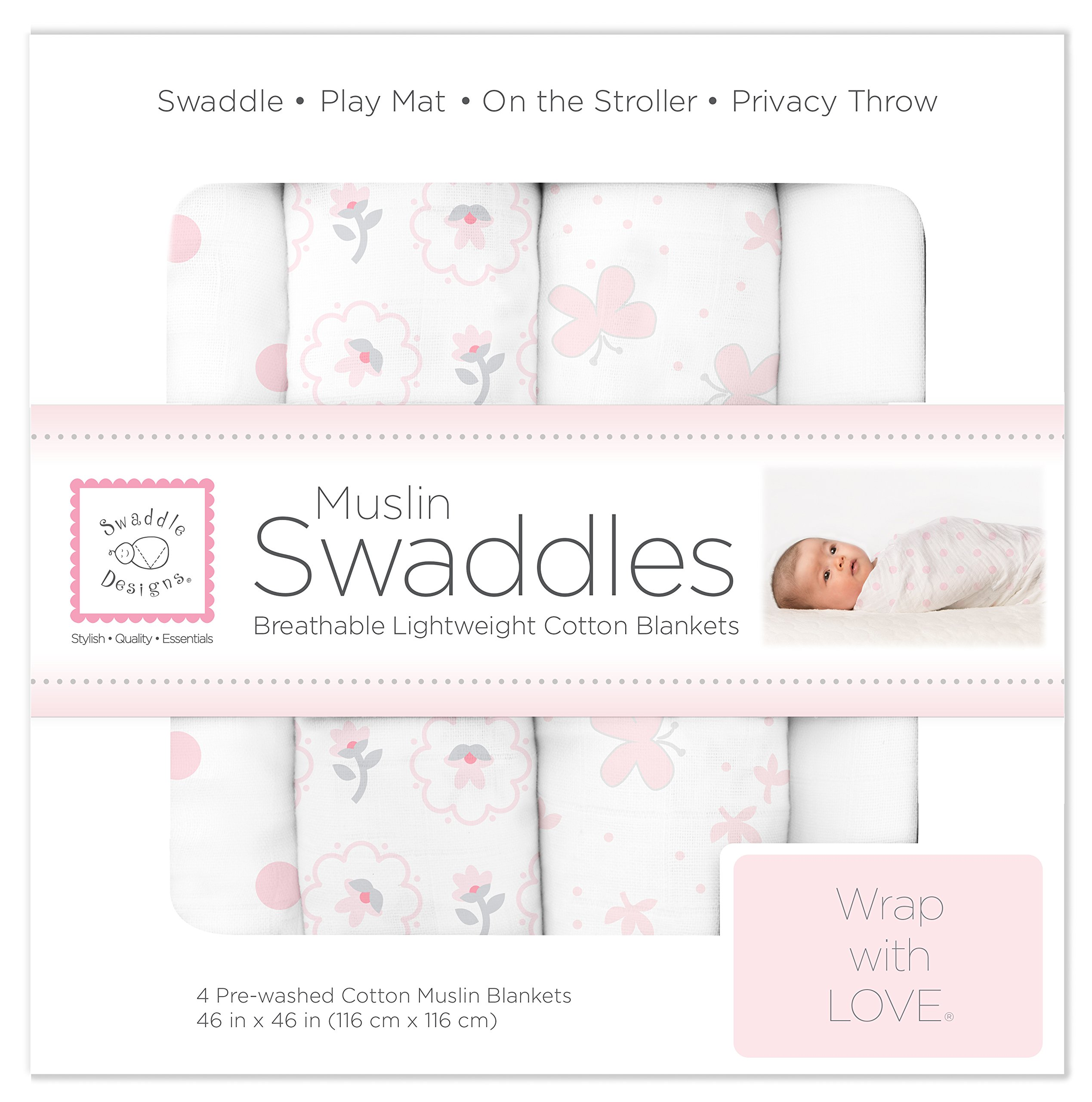 SwaddleDesigns Cotton Muslin Swaddle Blankets, Set of 4, Pastel Pink Butterflies and Posies