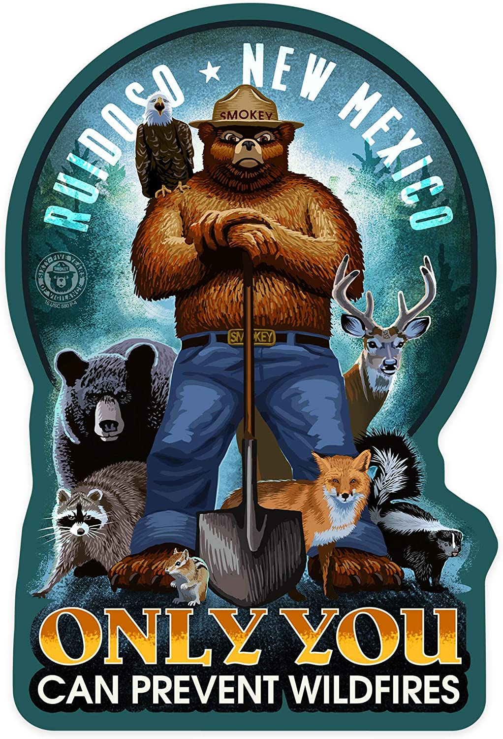 Stickers Seals Labels, Ruidoso, New Mexico - Smokey Bear and Friends - Only You Can Prevent Wildfires Label Sticker for Wall Laptop Water Bottles Holiday Greeting Cards Gift Envelopes Boxes