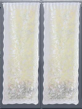 Charmance - Paire de rideaux bonne femme en dentelle - Blanc - 161 ...