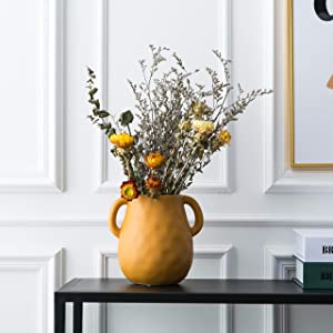 Kimdio Ceramic Flower Vase, Vases for Decor, Decorative Table Floral Vase for Living Room, Indoor Plant, Shelf, Mantle, Table, Office, Wedding Centerpieces/Arrangements,Bottom Waterproof (Orange)