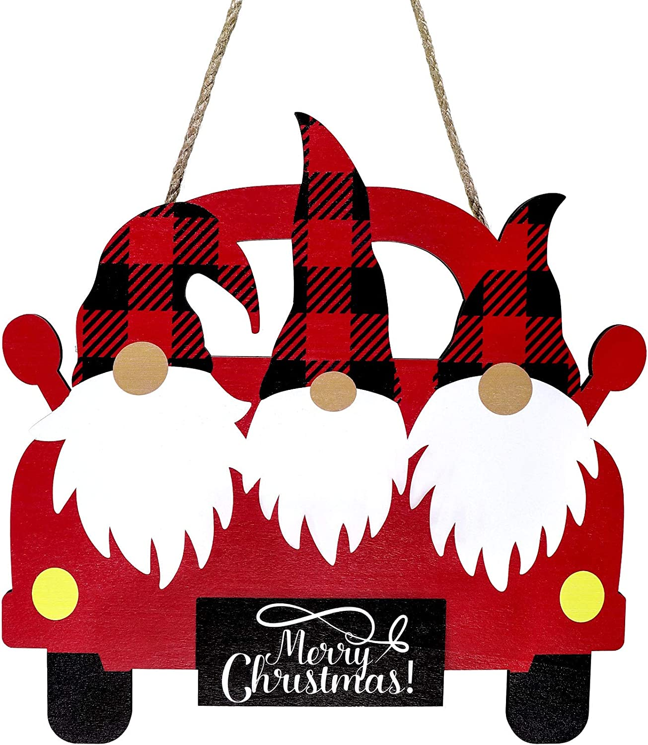 Christmas Truck Wooden Hanging Sign Red Truck Christmas Home Sign Christmas Vintage Farm Truck Wooden Sign Buffalo Plaid Gnome Wooden Hanging Decor for Home Coffee Wall Indoor Decor