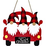 Christmas Truck Wooden Hanging Sign Red Truck Christmas Home Sign Christmas Vintage Farm Truck Wooden Sign Buffalo Plaid…