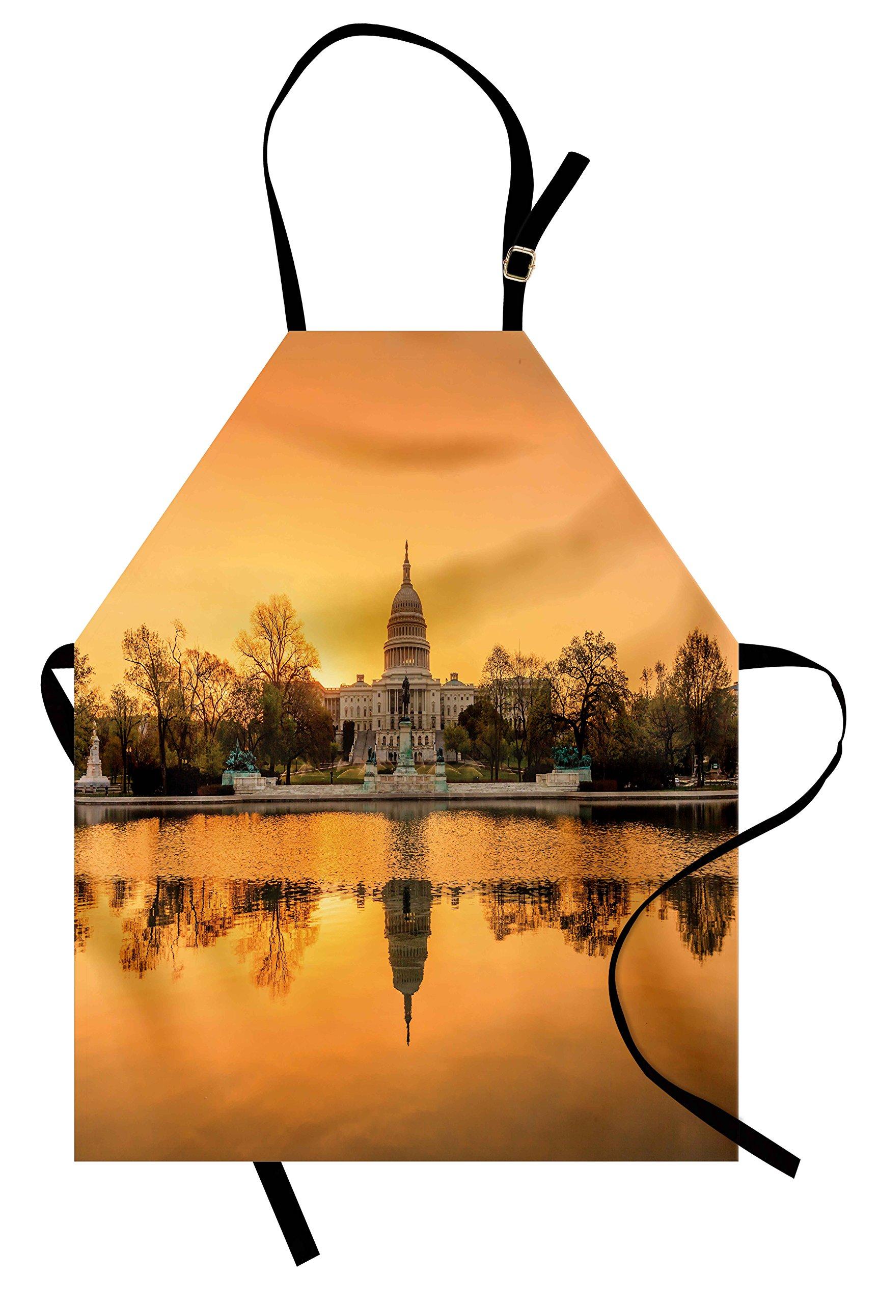 Ambesonne United States Apron, Washington DC American Capital City White House Above The Lake Landscape, Unisex Kitchen Bib Apron with Adjustable Neck for Cooking Baking Gardening, Apricot Ginger