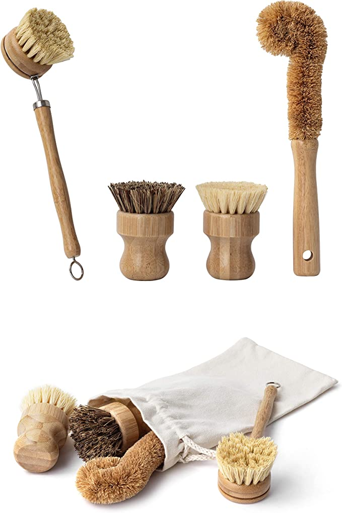Earth's Own Natural Bamboo Dish Scrub Brush 4 Piece Set - Made From 100% Natural Bamboo -Natural Bristle - Plastic Free Dishes Scrub Brush For Dishes, Pot, Pans. best natural kitchen cleaning products