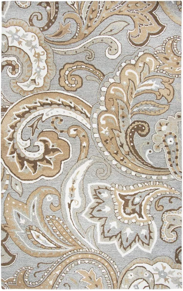 Rizzy Home Suffolk Gray Paisley Hand-Tufted Wool Rug 3 x 5 – 3 x 5