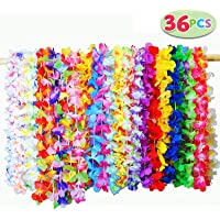 JOYIN 36 Counts Tropical Hawaiian Luau Flower Lei Party Favors (3 Dozen)