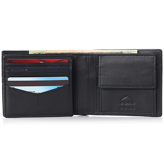 d5415f337212b Alpine Swiss RFID Mens Wallet Deluxe Capacity Coin Pocket Bifold With  Divided Bill Section Coin Bifold