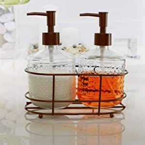 Circleware Vintage Soap Dispenser Bottle Pumps in Metal Caddy 3-Piece Set of Home Bathroom Accessories, Farmhouse Decor for Essential Oils, Lotions and Liquids, 17.5 oz, Bronze Hobnail
