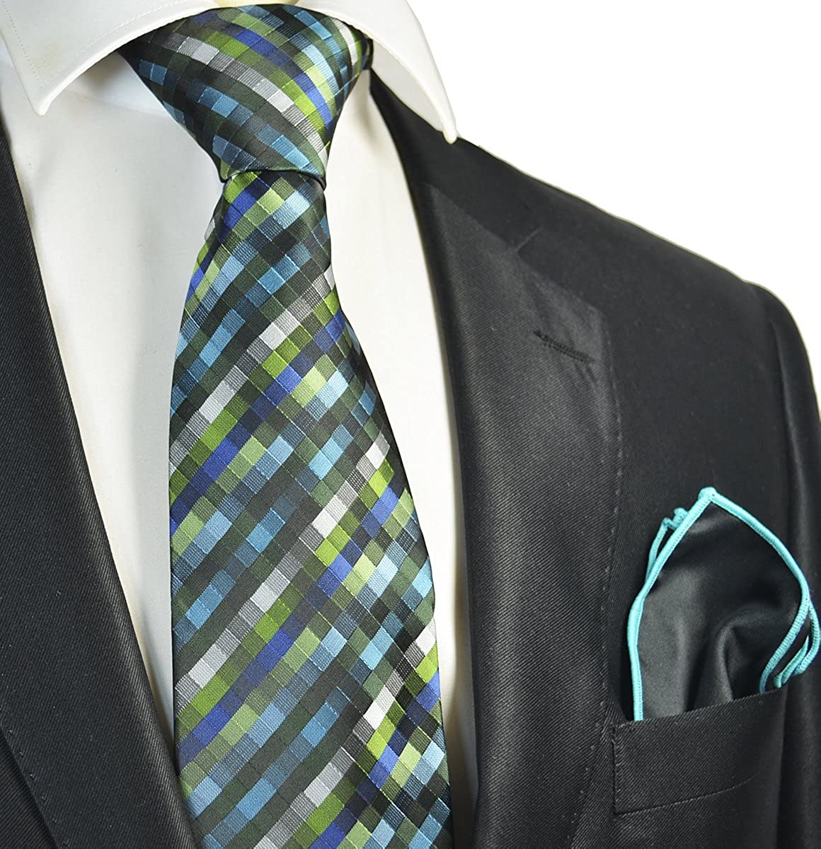 Green Checked Mens Tie and Pocket Square Set