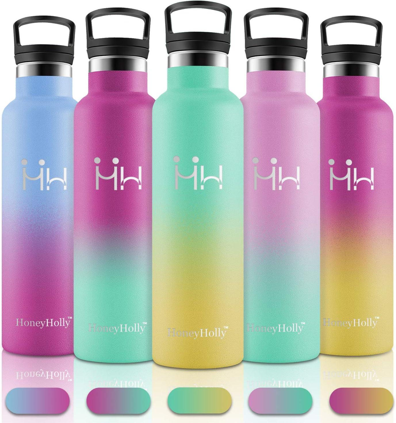 HoneyHolly Botella de Agua de Acero Inoxidable sin bpa Botellas 750ML diseño de pared doble Botella, Termica con Pajita y Filtro, para Niños & Adultos, Deporte, Oficina