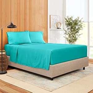 Twin Size Sheet Set 3 Piece - Bamboo Blend Hotel Luxury Bed Sheets - Extra Soft Bamboo and Microfiber Blend - Breathable & Cooling Sheets - Wrinkle Free - Comfy – Twin Size – Teal Blue Bed Sheets