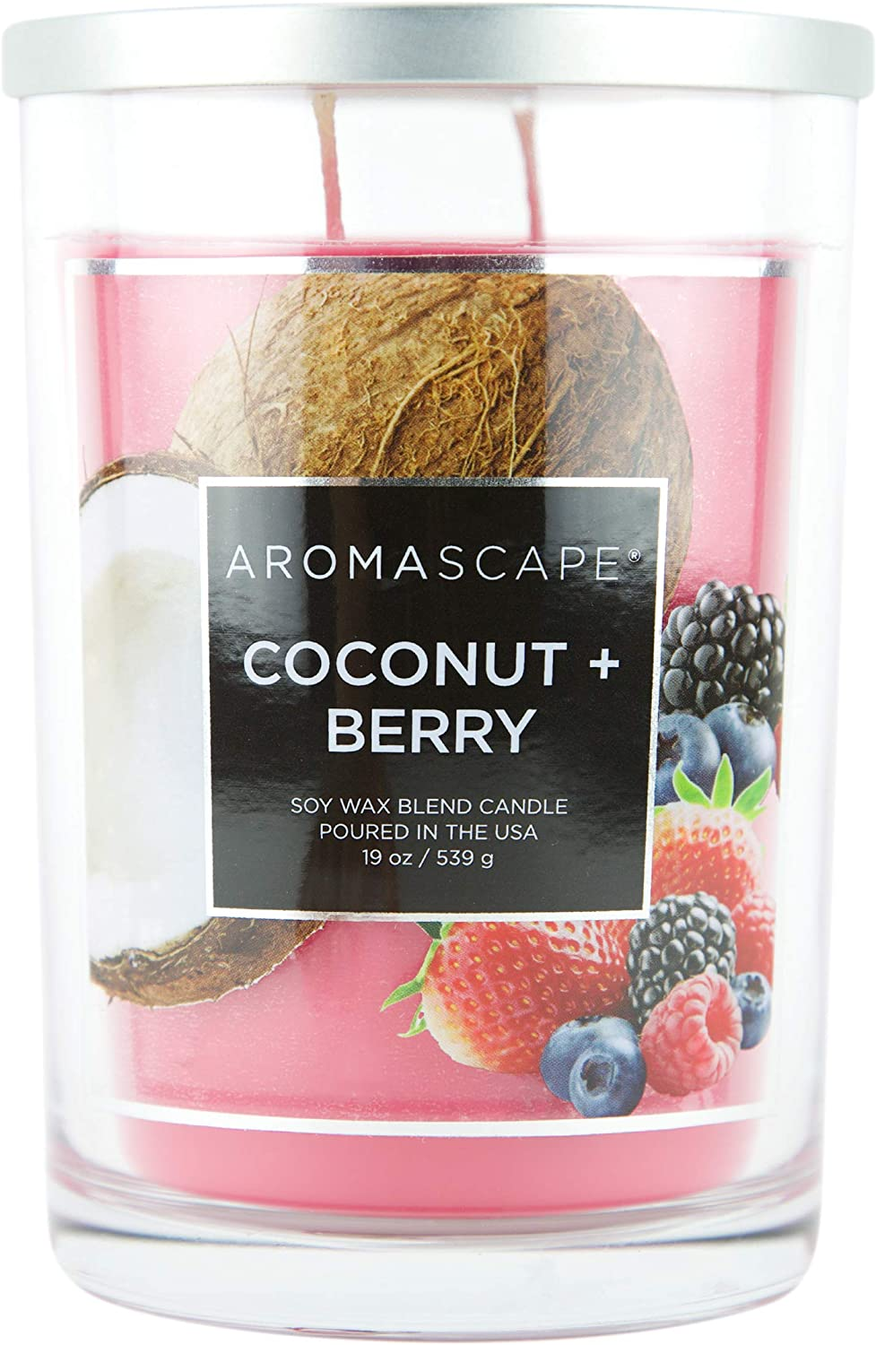 Aromascape PT419212-Wick Scented Jar Candle, Coconut & Berry, 19-Ounce, Pink/Red