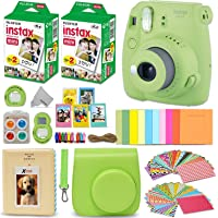 Fujifilm Instax Mini 9 Instant Camera LIME GREEN + Fuji INSTAX Film (40 Sheets) + Accessories Kit Bundle + Custom Case with Strap + Assorted Frames + Photo Album + 60 Colorful Sticker Frames + MORE