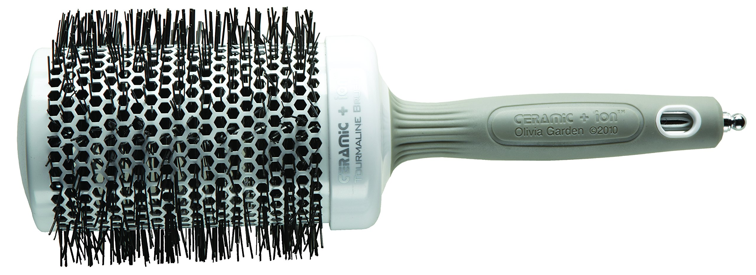 Olivia Garden Ceramic + Ion Thermal Round Hair Brush 65mm - Anti-Static, Tourmaline-Ion & Nylon Bristles