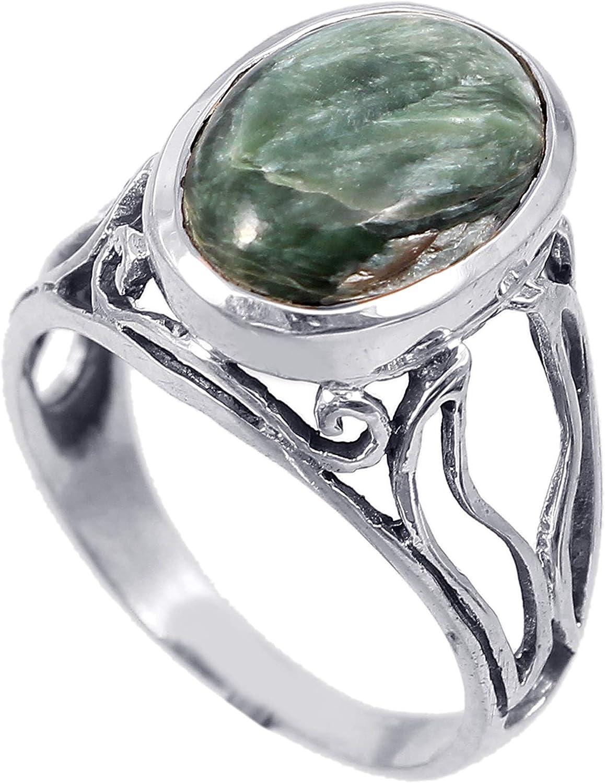 Anillo de plata de ley 925 para mujer|anillo de piedra preciosa natural Jaspe|Banda de boda para las mujeres|Piedras preciosas anillo, anillo de compromiso |Tamaño del anillo 17 (R174)