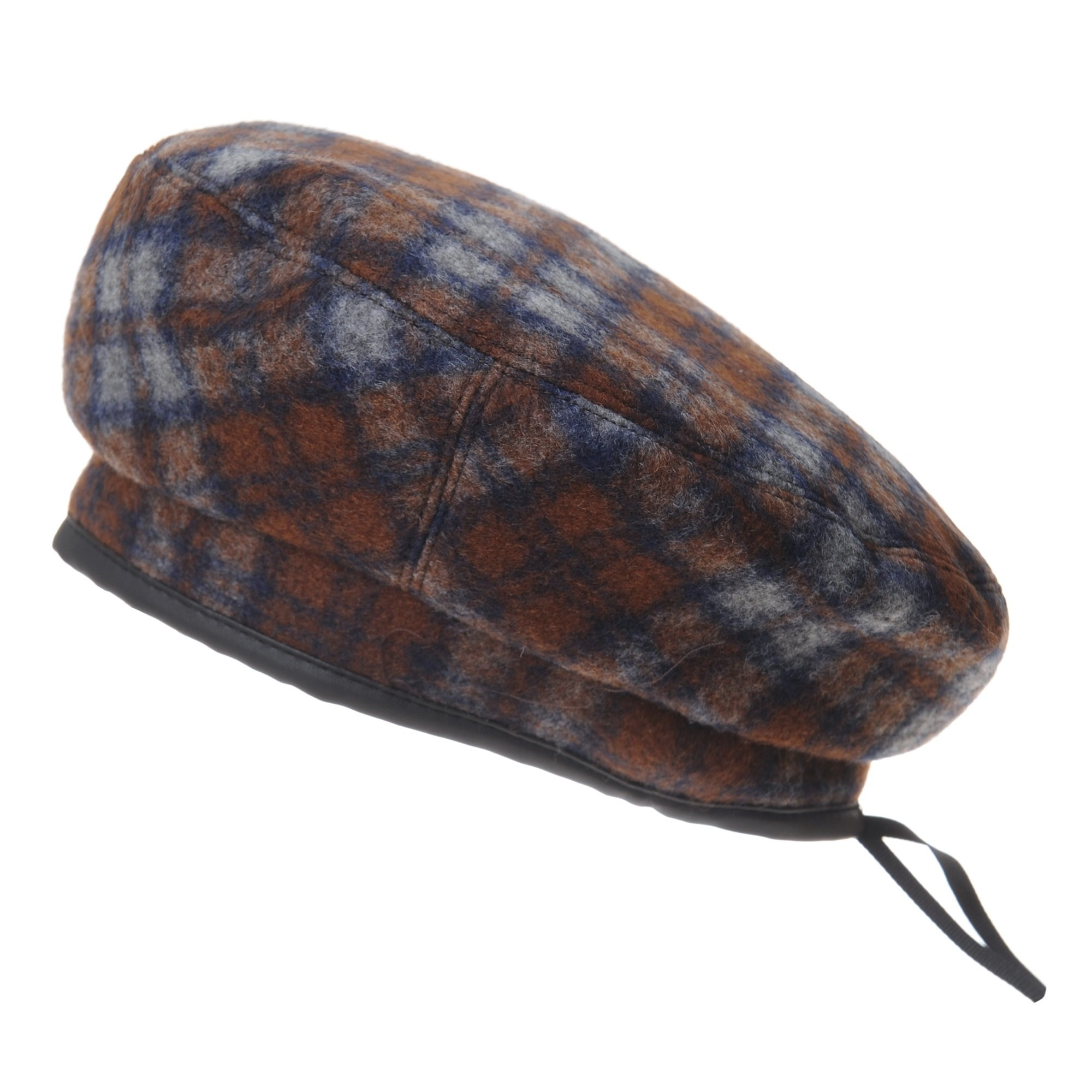 WITHMOONS Wool Beret Hat Tartan Check Leather Sweatband KR3781 (Brown)