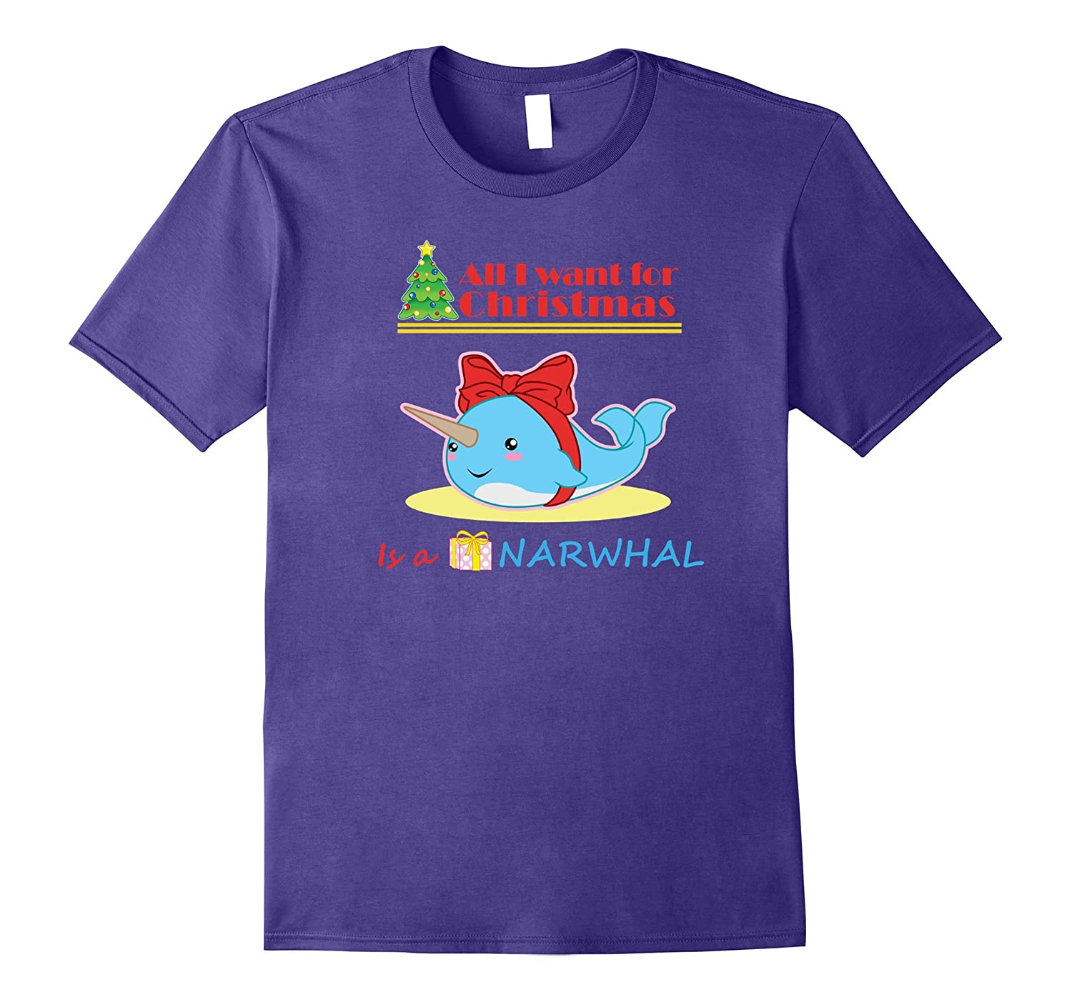 Narwhal Christmas T-Shirt for Girls I Want a Narwhal-FL