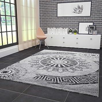 VIMODA Teppich Wohnzimmer Modern Klassisch Sehr Dicht Gewebt Meliert  Medallion Ornament Muster In Grau Schwarz Fussbodenheizung