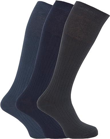 Calcetines acanalados hasta la rodilla para caballero/hombre - 100% algodón (Paquete de 3 pares de calcetines): Amazon.es: Ropa y accesorios