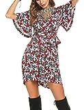 Beyove Women's Women's V Neck Floral Print Tie Waist Short Romper Jumpsuit