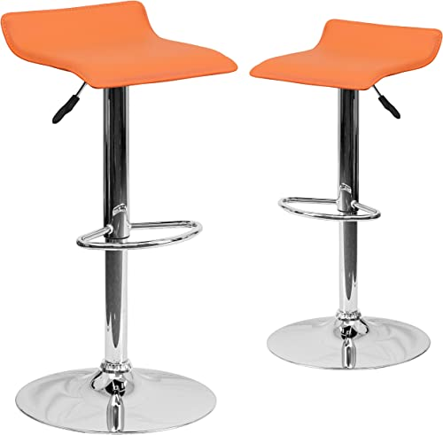 Flash Furniture 2 Pk. Contemporary Orange Vinyl Adjustable Height Barstool