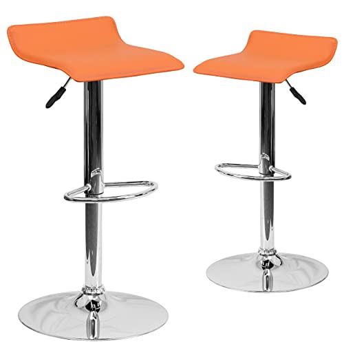 Flash Furniture 2 Pk. Contemporary Orange Vinyl Adjustable Height Barstool with Solid Wave Seat and Chrome Base
