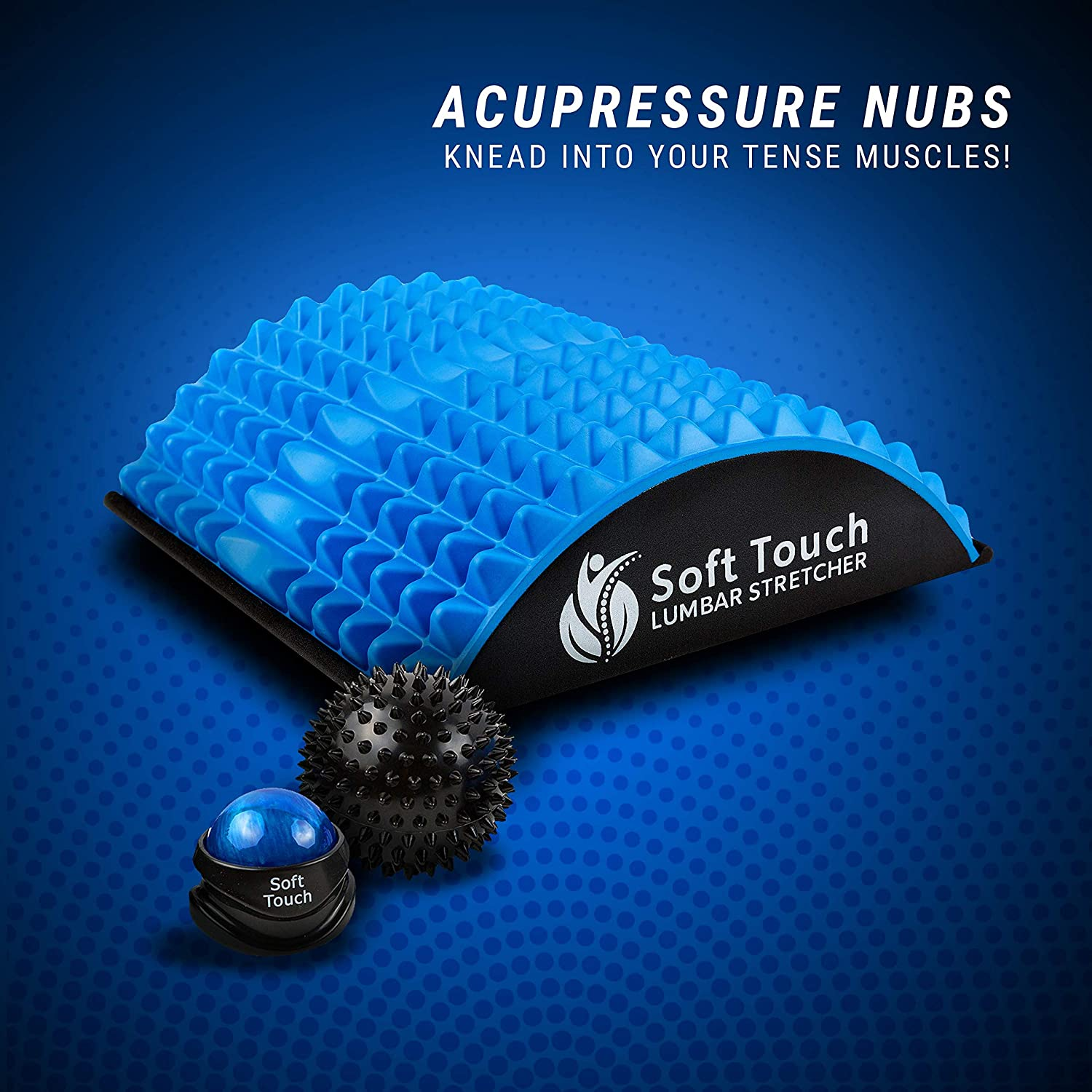Soft Touch Back Pain Relief   Sciatica Pain Relief   Spinal Stenosis Pain Relief   Extra Firm Lower Back Stretcher   Neck Pain. Bonus! Two Massage Balls Included for Back Pain! (Blue, EVA Foam)