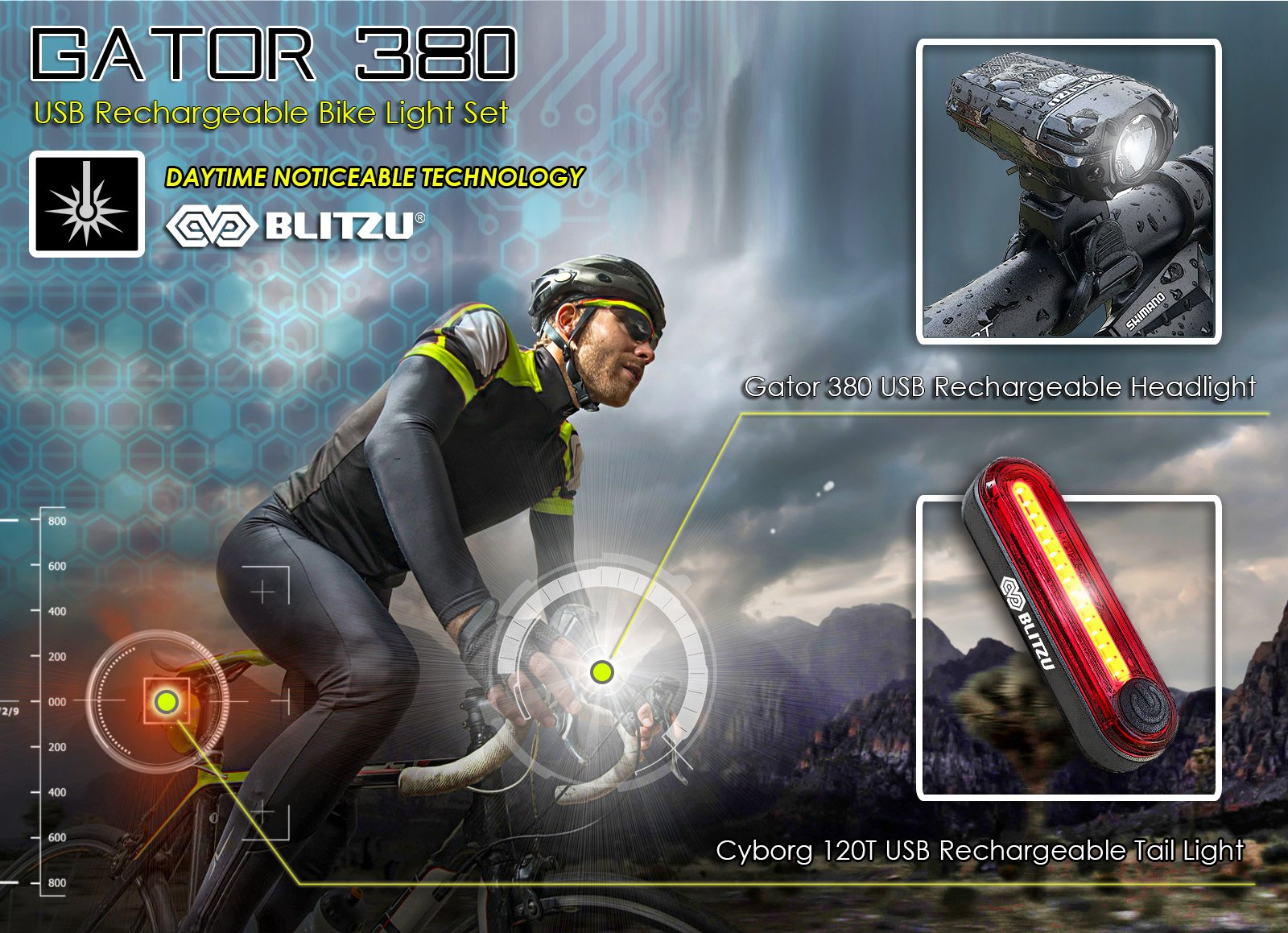 BLITZU Gator 380 USB Rechargeable Bike Light Set POWERFUL Lumens Bicycle Headlight FREE TAIL LIGHT, LED Front and Back Rear Lights Easy To Install for Kids Men Women Road Cycling Safety Flashlight by BLITZU (Image #7)