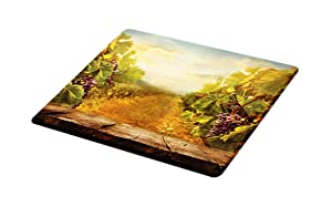 Lunarable Vineyard Cutting Board, Vineyard Ripe Grapes Natural Rustic Country Landscape Scenery Orchads Wine, Decorative Tempered Glass Cutting and Serving Board, Small Size, Green Brown Blue
