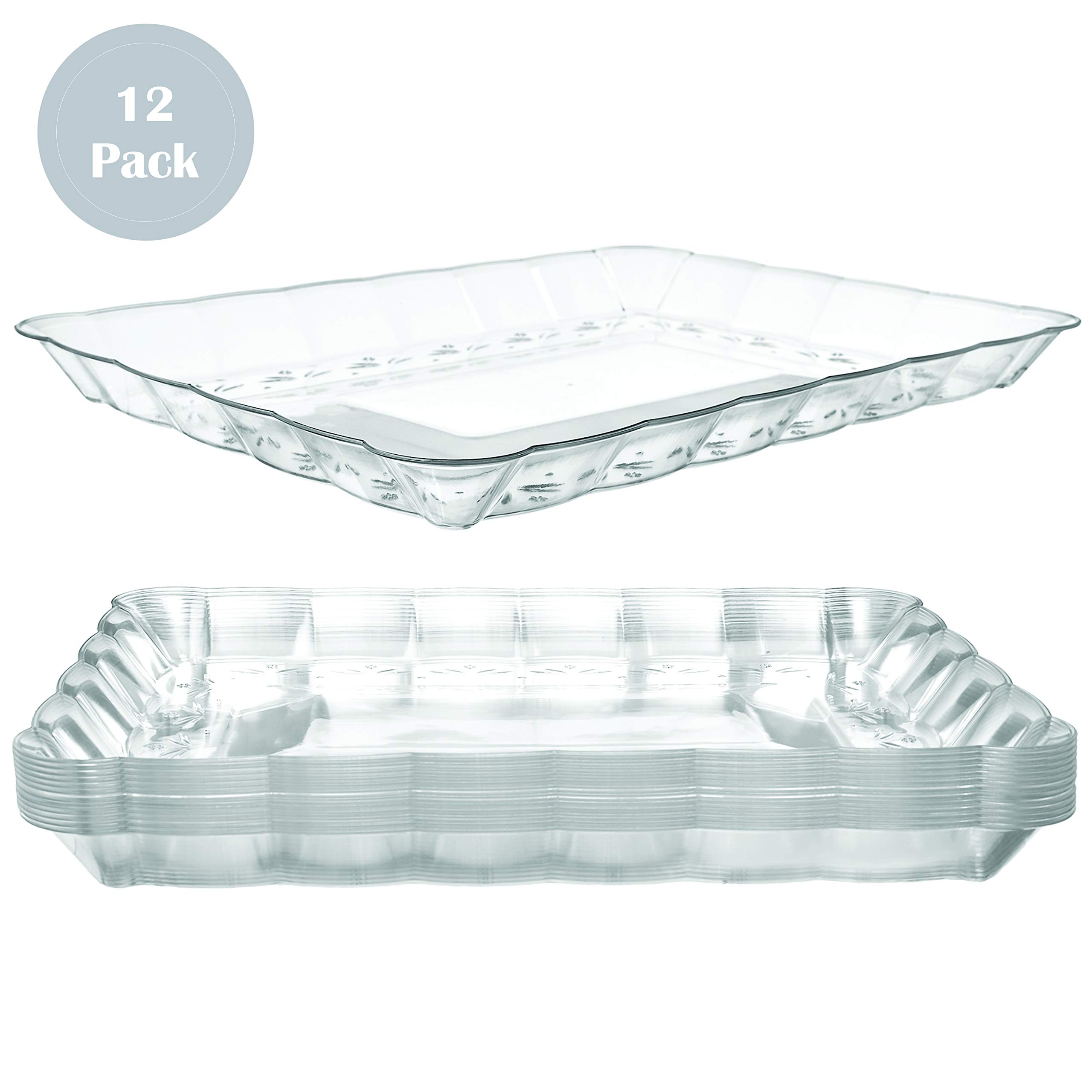 Plastic Serving Trays - Serving Platters | 12 Pack, 9''X13'' | Rectangular Disposable Party Platters and Trays | Clear Disposable Serving Trays for Parties | Party Serving Trays and Platters by Prestee