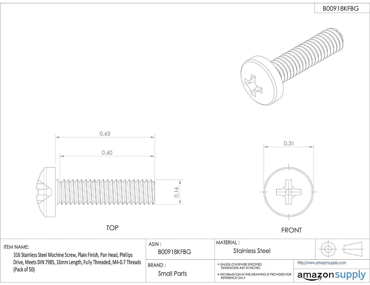 M4-0.7 Metric Coarse Threads 316 Stainless Steel Machine Screw Pan Head Plain Finish Fully Threaded Meets DIN 7985 16mm Length Small Parts B-7985A4PH4X16-B50 Phillips Drive Pack of 50