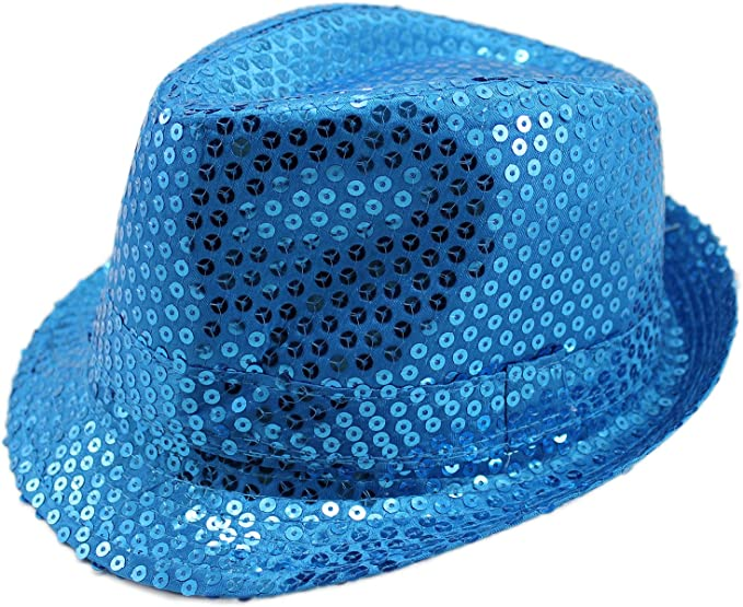 GIFT Unisex Fedora Hat WHITE Sequin Shiny Sparkle Cap Costume Prom Dance Party